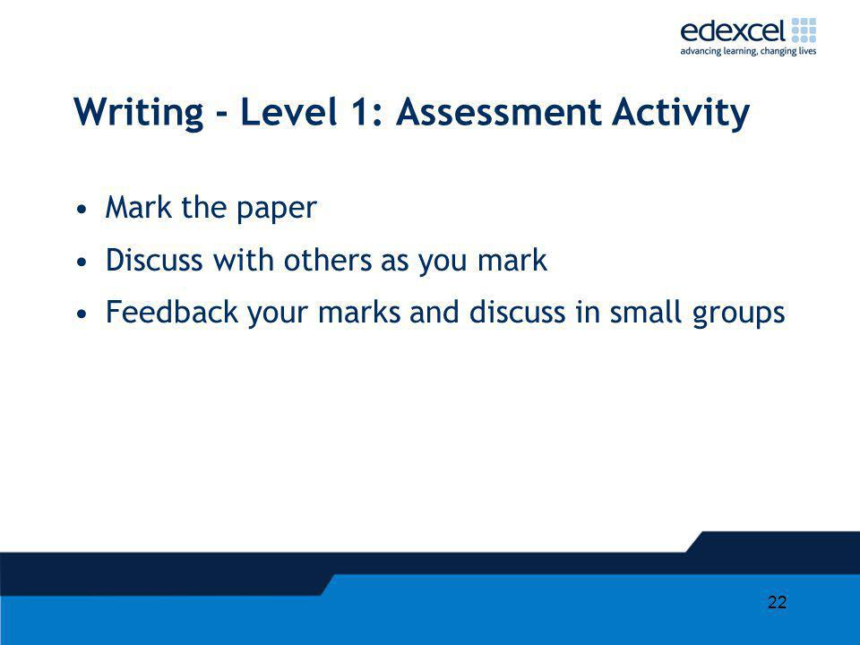 Writing - Level 1: Assessment Activity