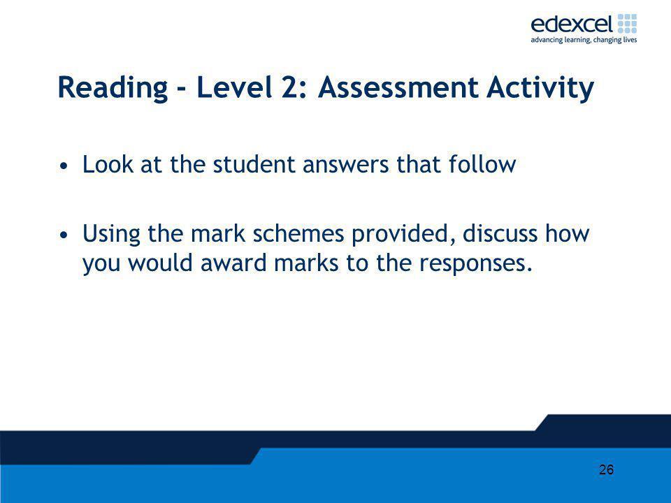 Reading - Level 2: Assessment Activity