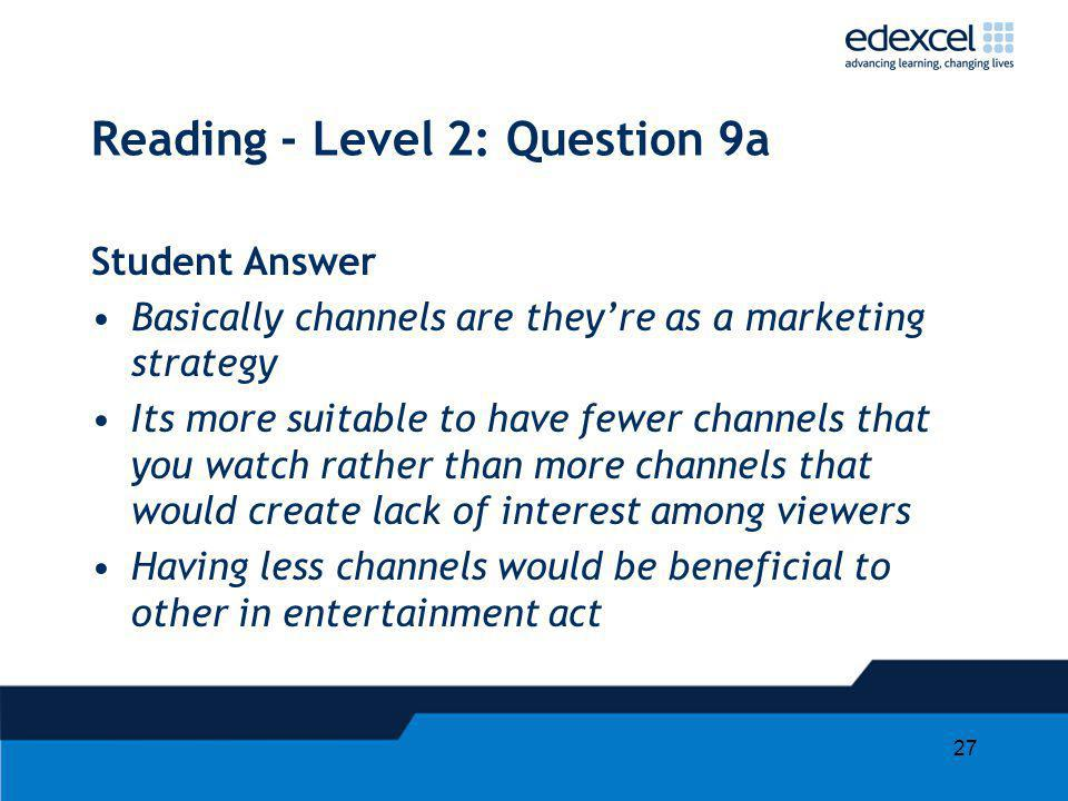 Reading - Level 2: Question 9a