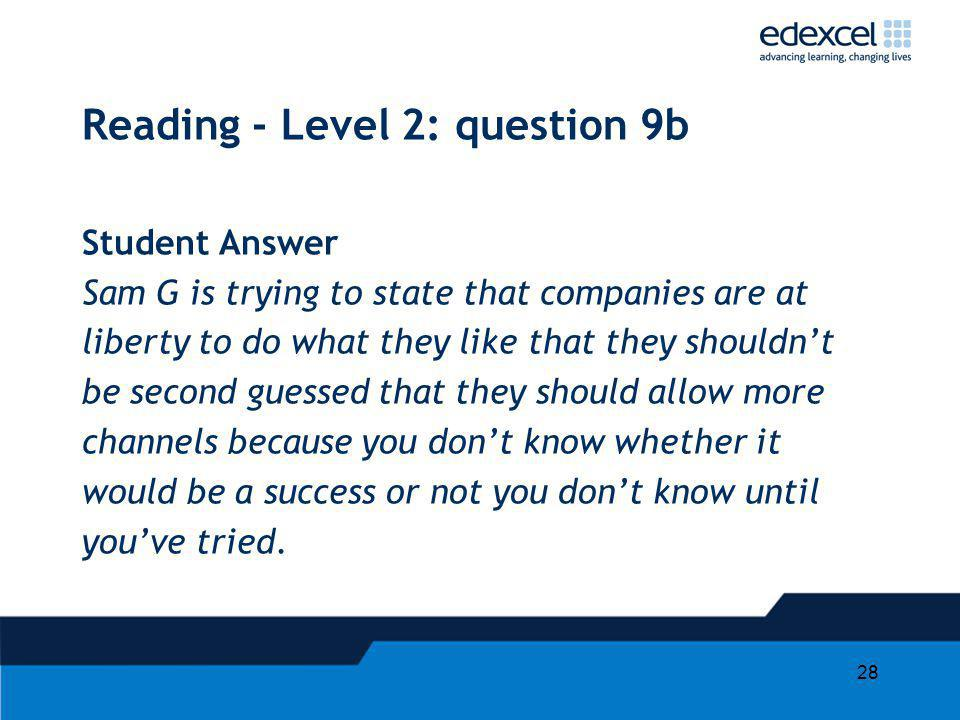 Reading - Level 2: question 9b