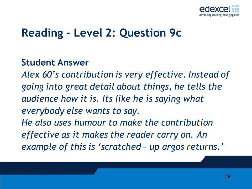 Reading - Level 2: Question 9c