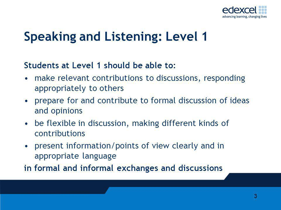 Speaking and Listening: Level 1