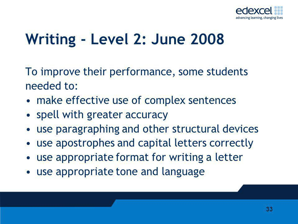 Writing - Level 2: June 2008 To improve their performance, some students. needed to: make effective use of complex sentences.