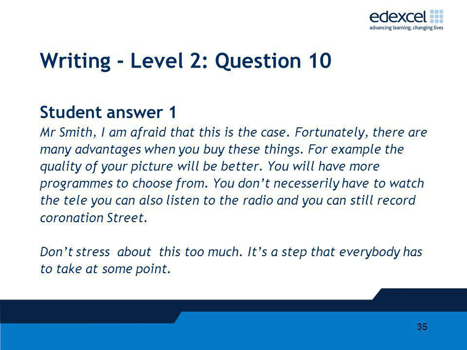 Writing - Level 2: Question 10
