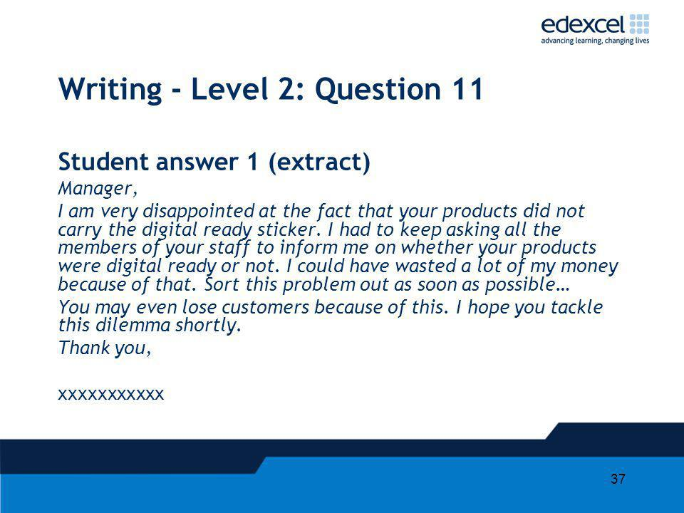 Writing - Level 2: Question 11