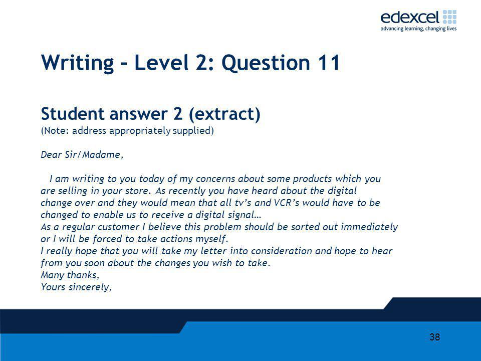 Writing application level questions for english