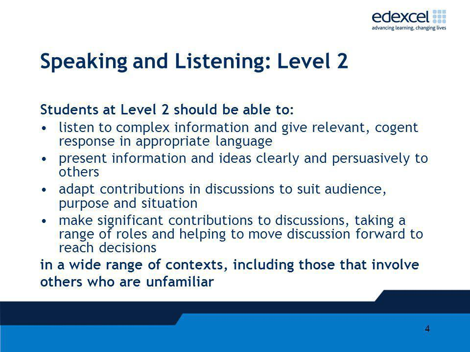 Speaking and Listening: Level 2