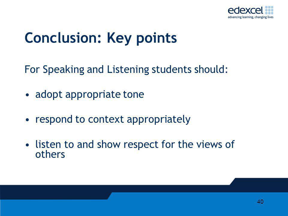Conclusion: Key points