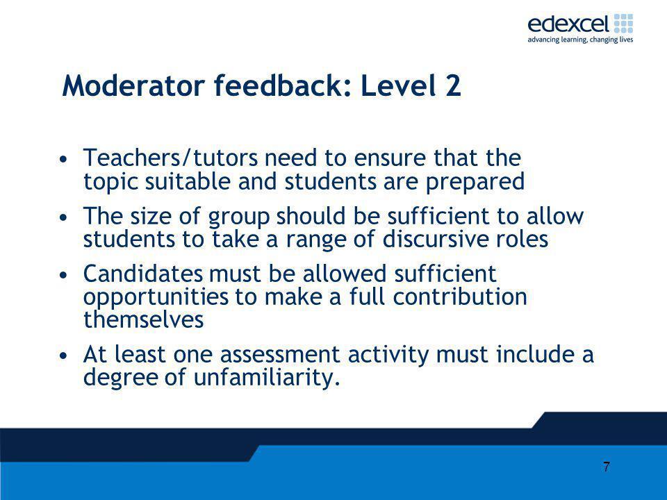 Moderator feedback: Level 2