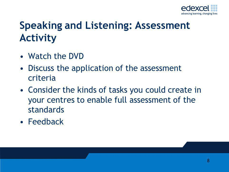 Speaking and Listening: Assessment Activity