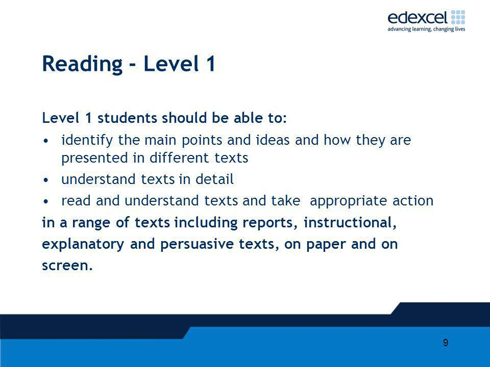 Reading - Level 1 Level 1 students should be able to:
