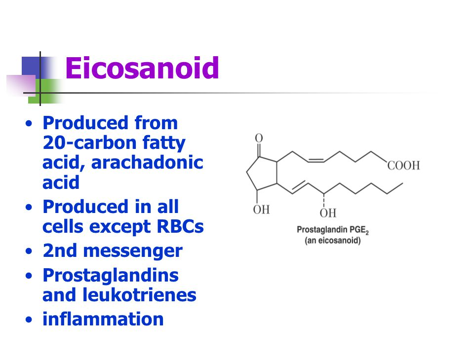 Eicosanoid Produced from 20-carbon fatty acid, arachadonic acid