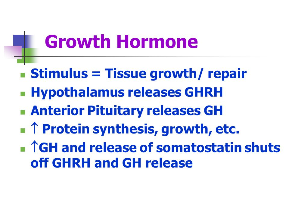 Growth Hormone Stimulus = Tissue growth/ repair