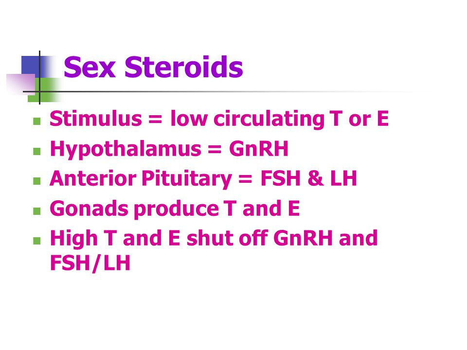 Sex Steroids Stimulus = low circulating T or E Hypothalamus = GnRH