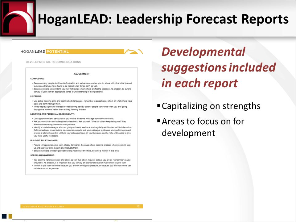 HoganLEAD: Leadership Forecast Reports