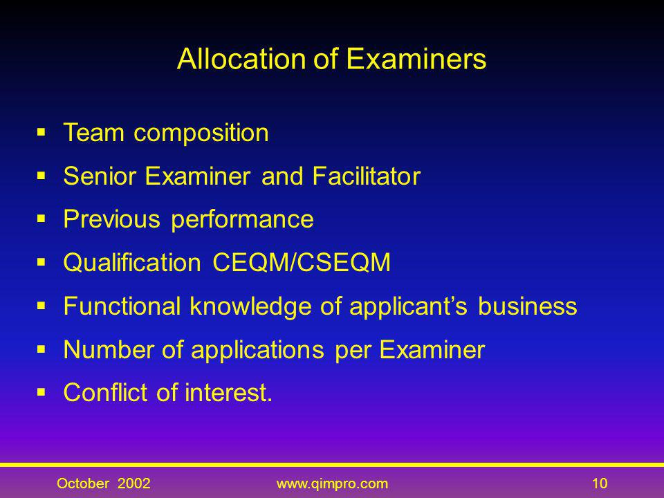 Allocation of Examiners