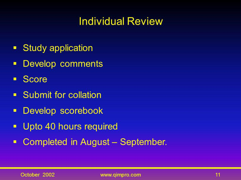 Individual Review Study application Develop comments Score