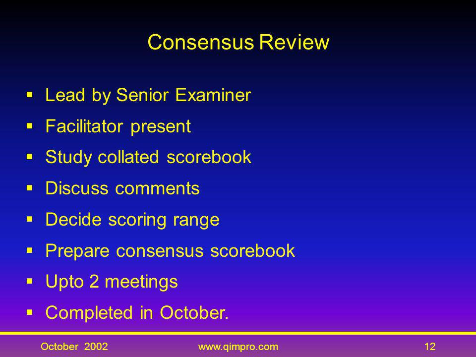 Consensus Review Lead by Senior Examiner Facilitator present