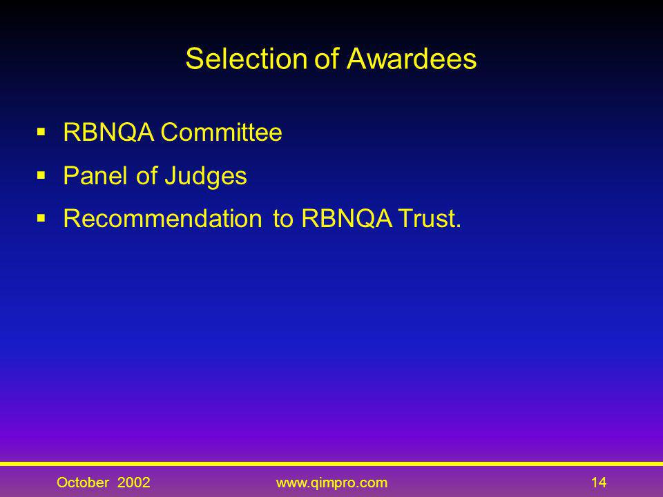 Selection of Awardees RBNQA Committee Panel of Judges