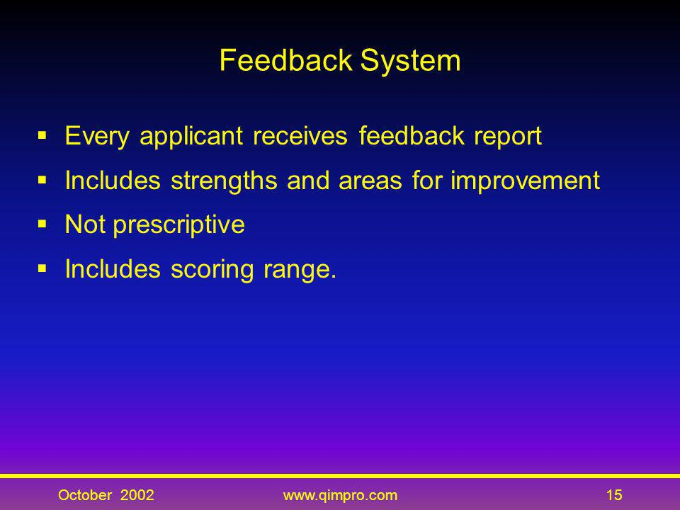 Feedback System Every applicant receives feedback report