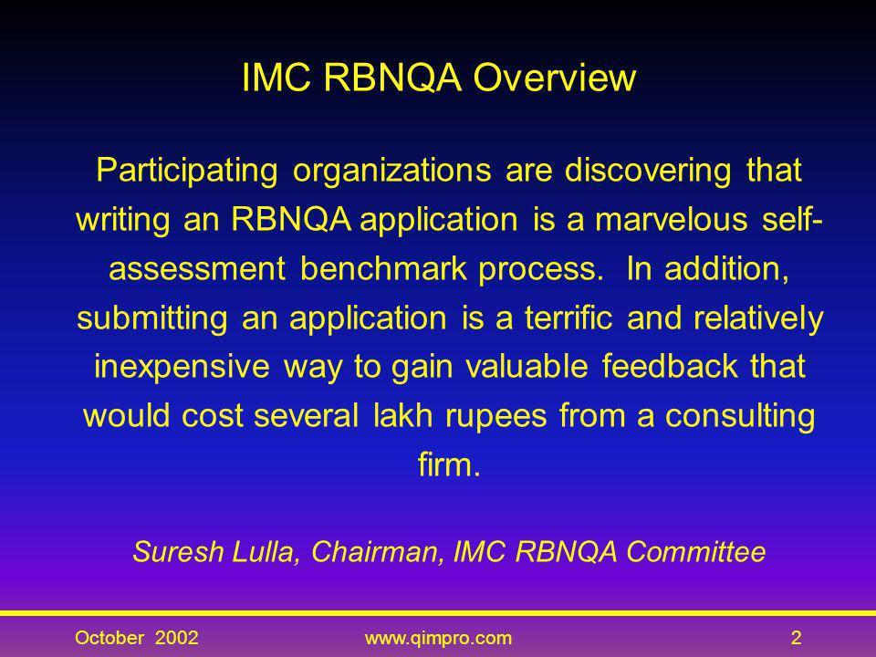Suresh Lulla, Chairman, IMC RBNQA Committee