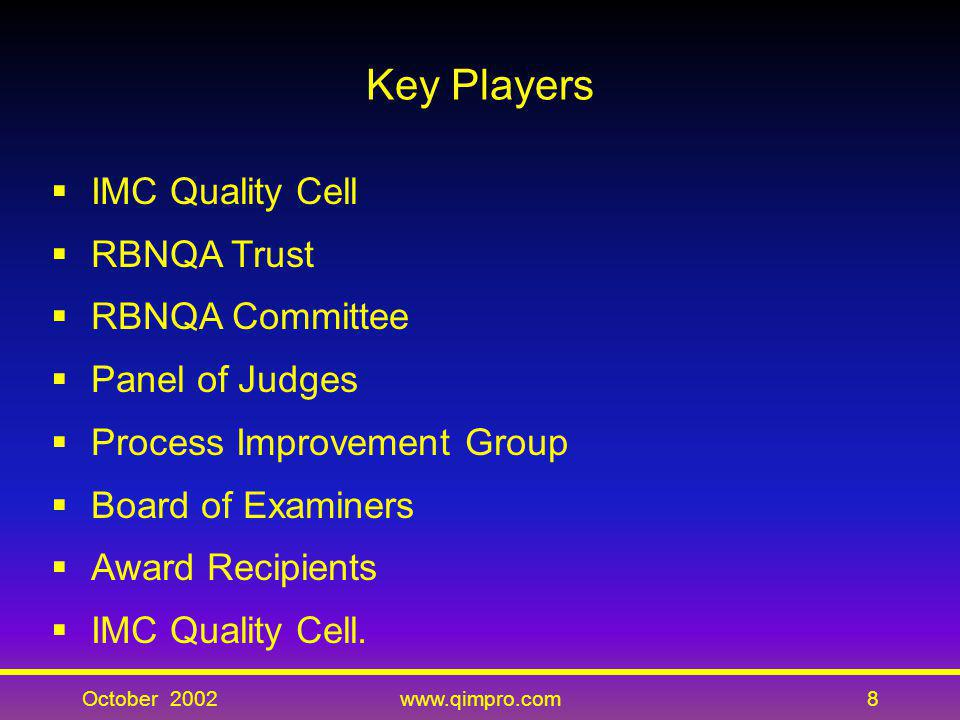 Key Players IMC Quality Cell RBNQA Trust RBNQA Committee