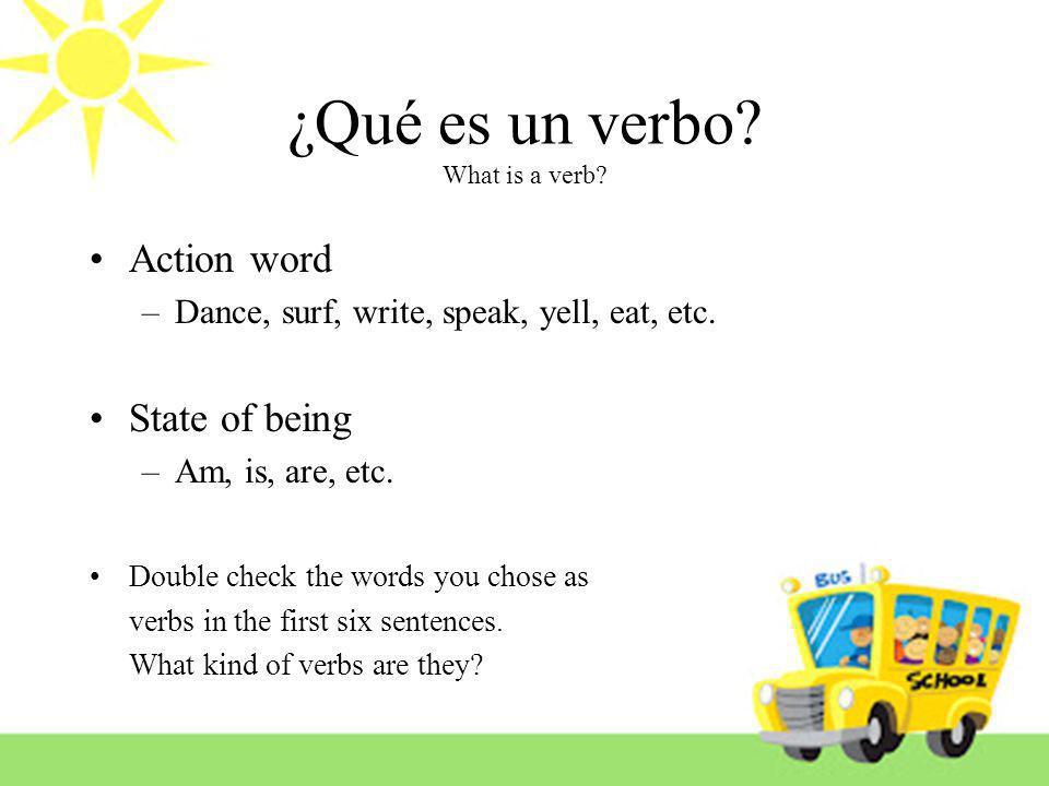 ¿Qué es un verbo What is a verb