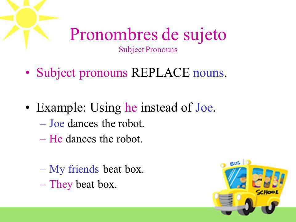 Pronombres de sujeto Subject Pronouns