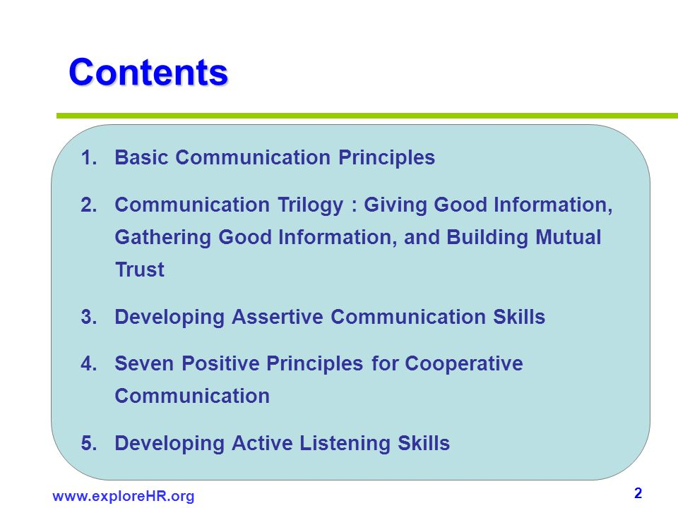 Contents Basic Communication Principles