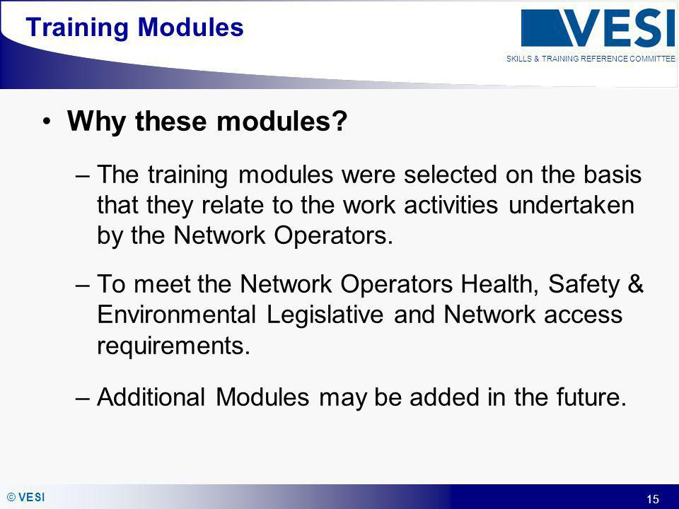Why these modules Training Modules