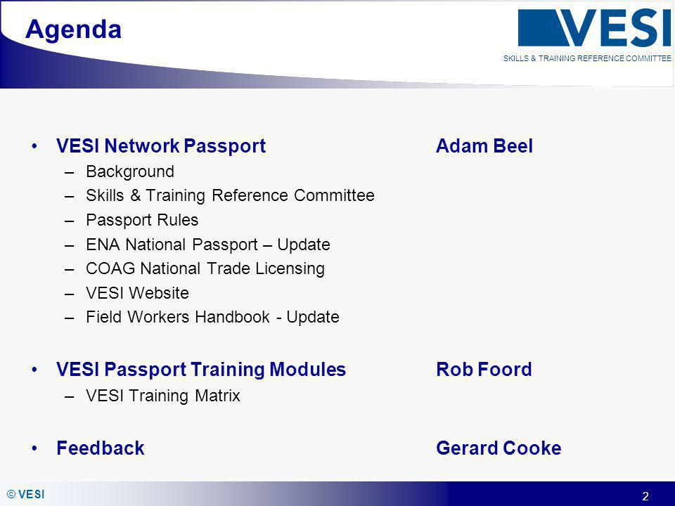Agenda VESI Network Passport Adam Beel