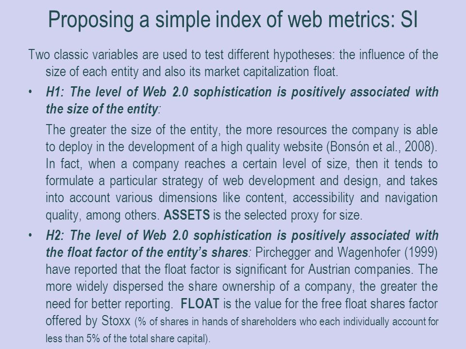 Proposing a simple index of web metrics: SI