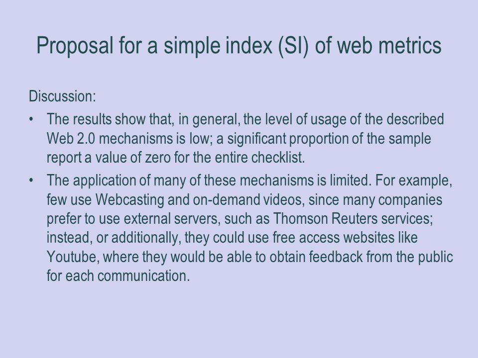 Proposal for a simple index (SI) of web metrics