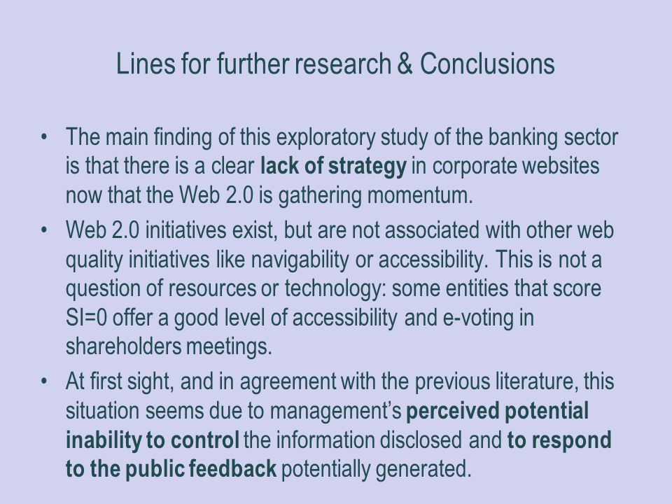 Lines for further research & Conclusions