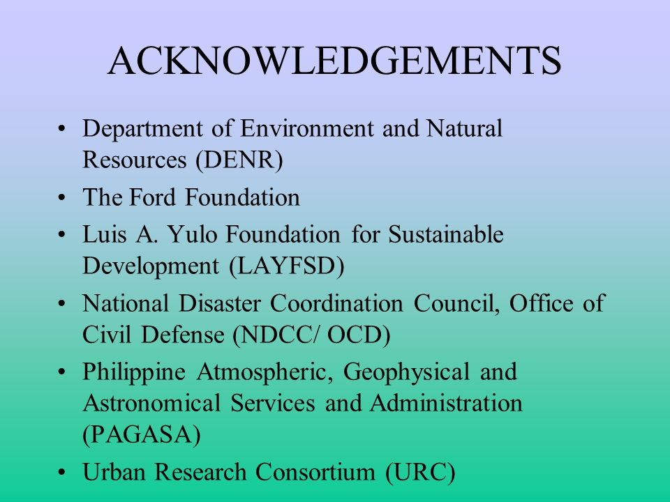 ACKNOWLEDGEMENTS Department of Environment and Natural Resources (DENR) The Ford Foundation.