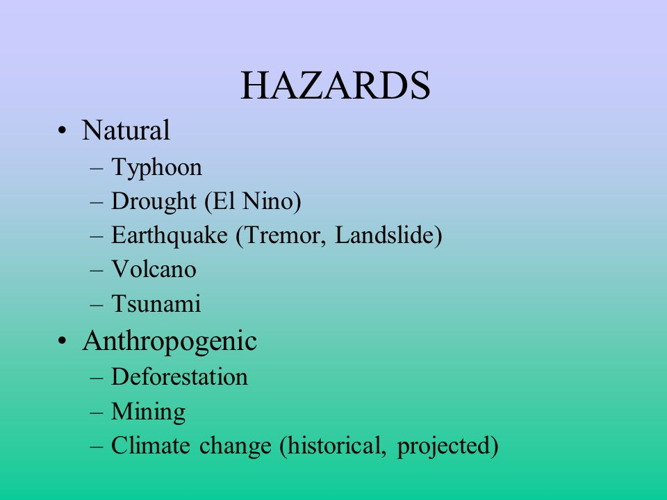 HAZARDS Natural Anthropogenic Typhoon Drought (El Nino)