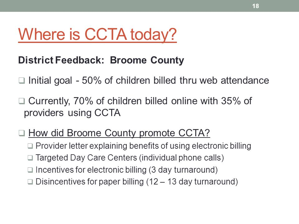Where is CCTA today District Feedback: Broome County