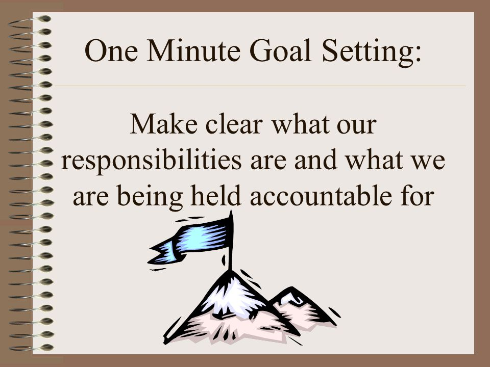 One Minute Goal Setting: Make clear what our responsibilities are and what we are being held accountable for