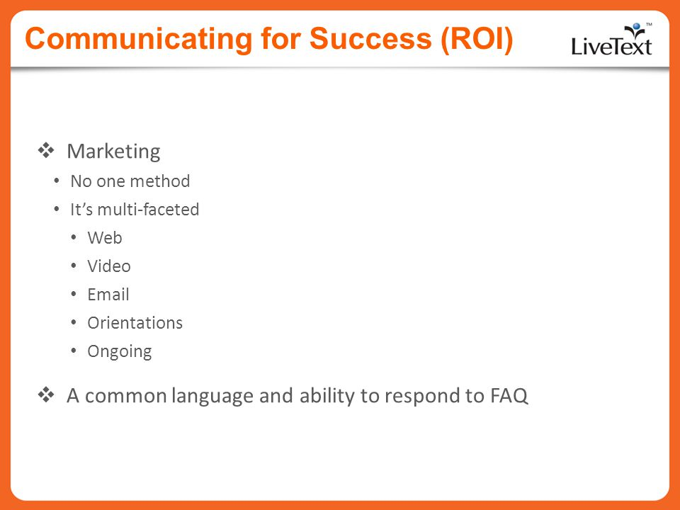 Communicating for Success (ROI)