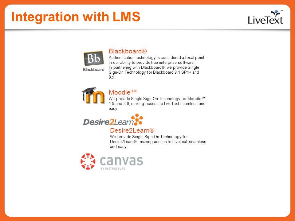 Integration with LMS Blackboard® Moodle™ Desire2Learn®