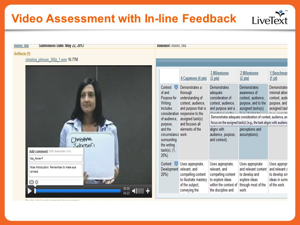 Video Assessment with In-line Feedback