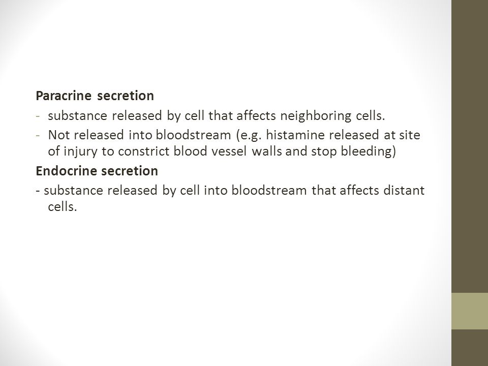 Paracrine secretion substance released by cell that affects neighboring cells.
