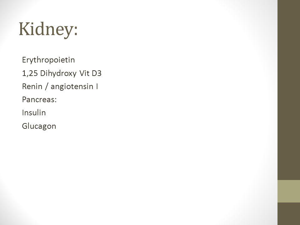 Kidney: Erythropoietin 1,25 Dihydroxy Vit D3 Renin / angiotensin I Pancreas: Insulin Glucagon