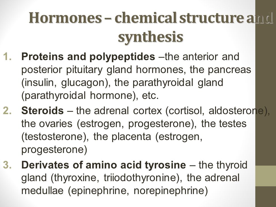 Hormones – chemical structure and synthesis