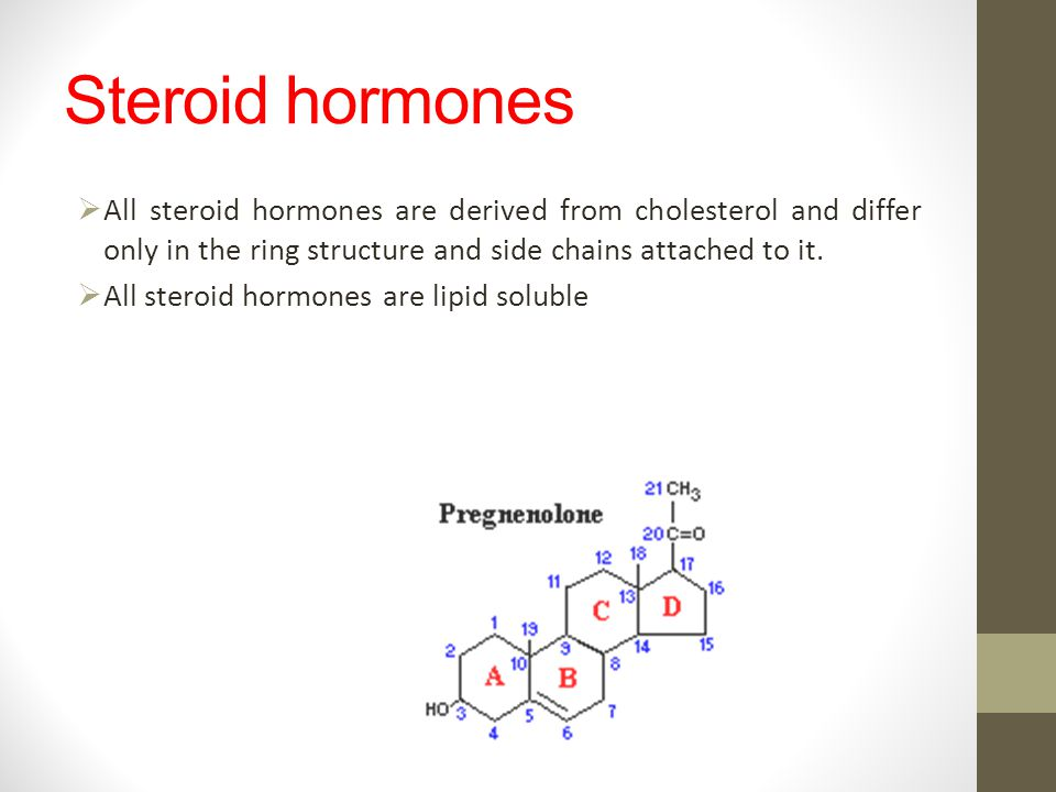 Steroid hormones All steroid hormones are derived from cholesterol and differ only in the ring structure and side chains attached to it.