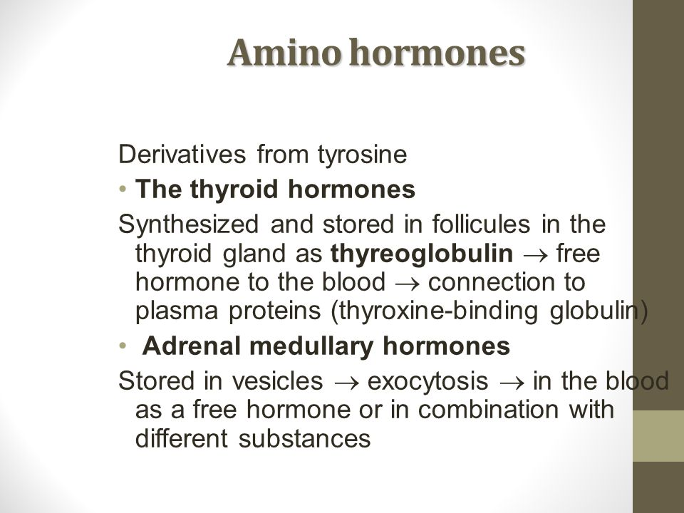 Amino hormones Derivatives from tyrosine The thyroid hormones