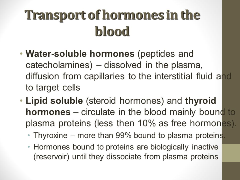 Transport of hormones in the blood