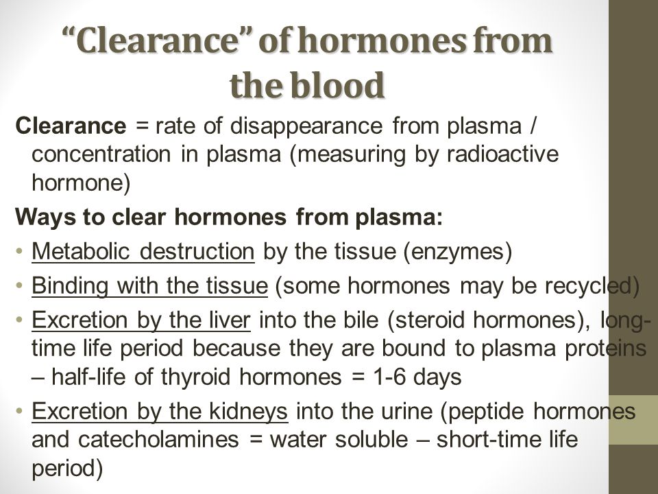 Clearance of hormones from the blood