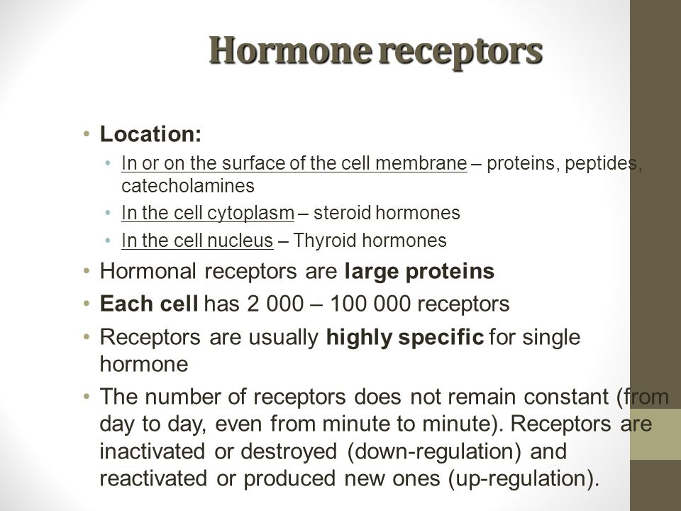 Hormone receptors Location: Hormonal receptors are large proteins
