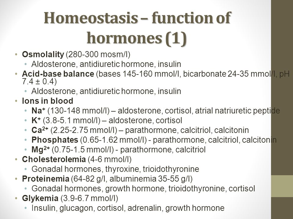 Homeostasis – function of hormones (1)